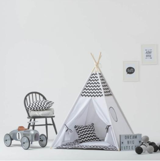 Tipi-tent-zwart-wit-Sassefras-meisjes-speelgoed-puurvangeluk